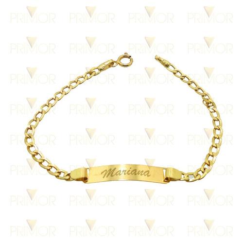 pulseira infantil em ouro com malha cartier e chapinha ps011