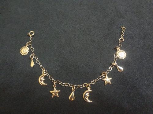 pulseira infantil estrela, lua, sol, gota folheada a ouro