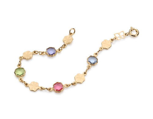 pulseira infantil fios flores coloridas, ouro rommanel
