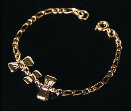 pulseira infantil lacinhos dourada- 15 cm 35062c 38