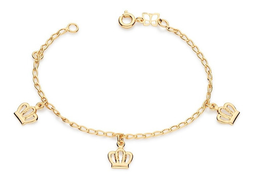 pulseira infantil laminado coroa folheado rommanel 551181