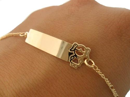 pulseira infantil plaquinha filha menina folheado a ouro 18k