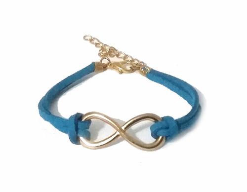pulseira infinit - tamanho ajustável - azul