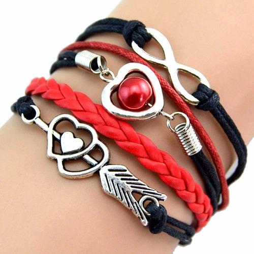 pulseira infinito coração flecha amor cores time flamengo