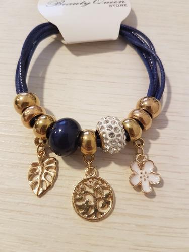 pulseira inspirada pandora berloques flor e folha feminino