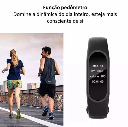 pulseira inteligente smartband m2 monitor cardiaco pedometro