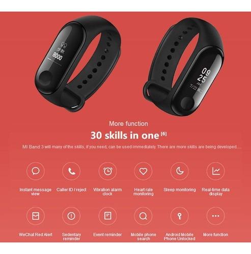 pulseira inteligente xiaomi mi band 3 preta - relógio 3.0