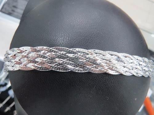 pulseira italiana feminina trançada com 8 fios em prata 925
