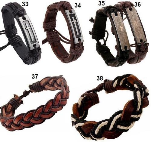 pulseira kit c/ 3 bracelete couro masculino + colar âncora