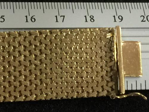 pulseira linda ouro maciço 18k-40.6gr.-19cm.-larg.22mm.