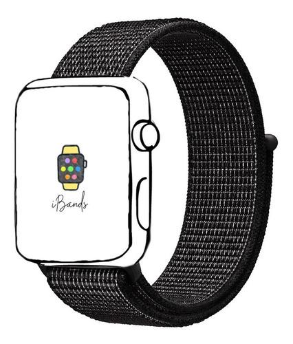 pulseira loop esportiva preto refletivo apple watch 42 44mm