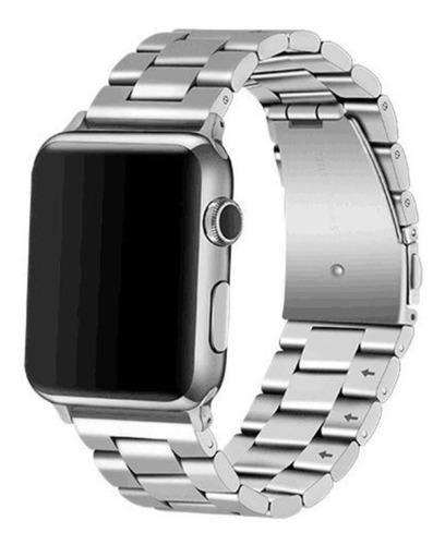 pulseira luxo aço inoxidável p/ apple watch 42/44mm - prata