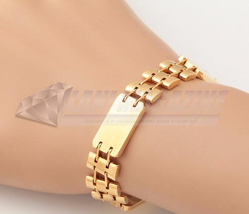 pulseira luxo banhado ouro 18k fecho cadeado exclusiva
