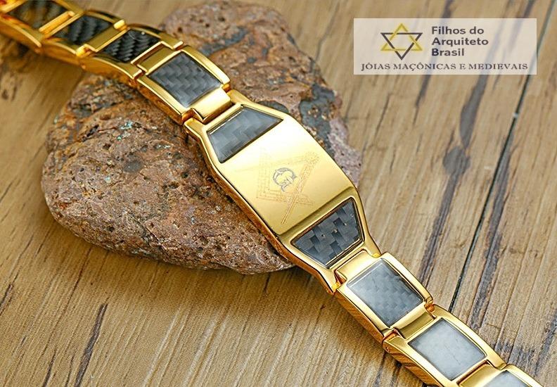 49c6ec33e83 Pulseira Maçom Titanio Bio Energia Magnetica Dourada - Fap12 - R ...