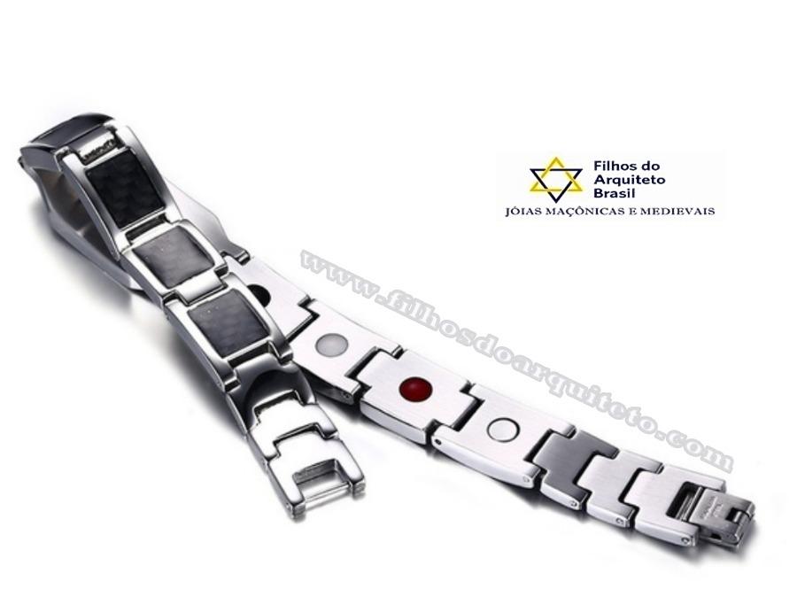 750c919139f pulseira maçom titânio bio energia magnetica prata - fap12. Carregando zoom.