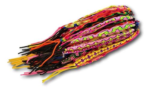 pulseira macramê colorida - pacote com 50 dúzias