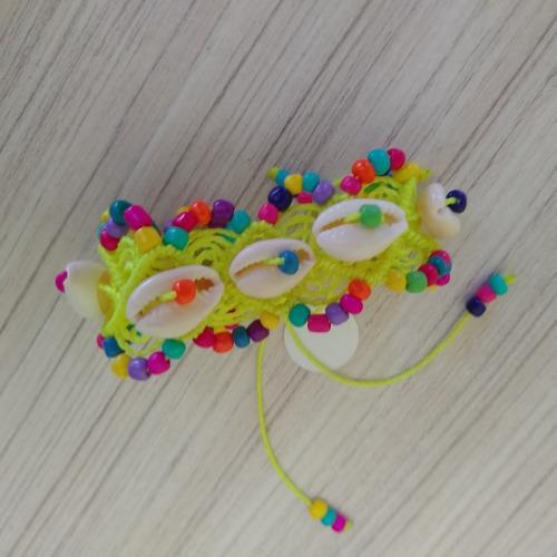 pulseira macramê com búzios colorida ref: 7833
