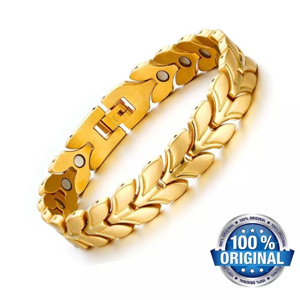 212fd10fb37 pulseira magnética bracelete aço titânio + banho ouro 18k. Carregando zoom.