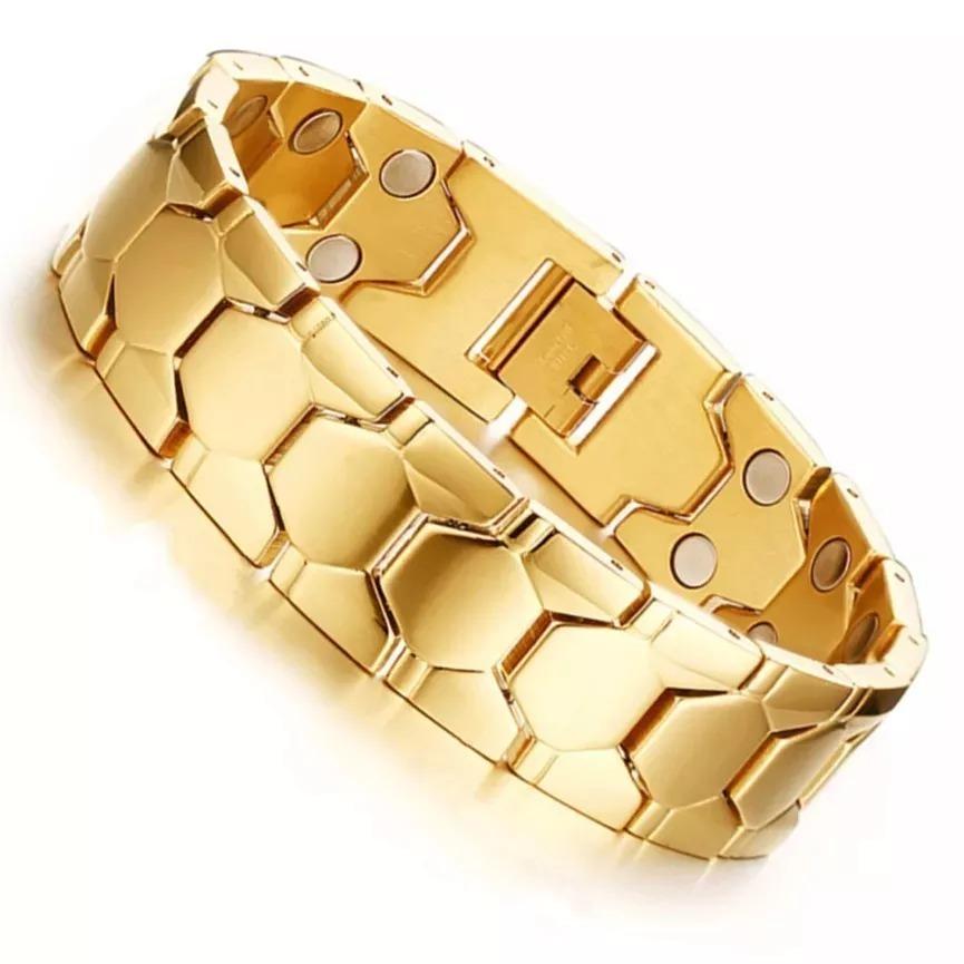 331199965b2 pulseira magnética masculina aço titânio + 5 banhos ouro 18k. Carregando  zoom.