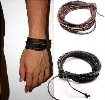 pulseira masculiana couro legítimo 4 peças- frete grátis
