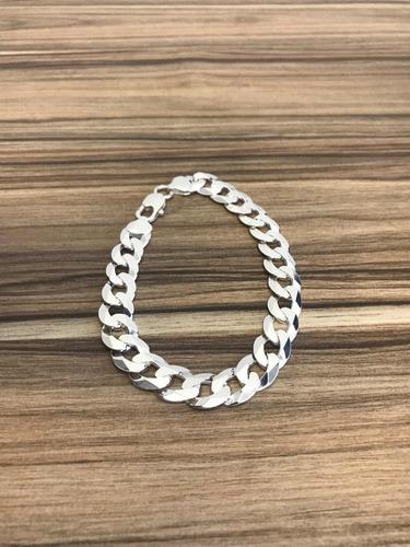 pulseira masculina 10,5mm de prata 925 maciça escama grumet