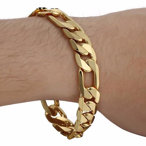 pulseira masculina 12mm banhada ouro 18k modelo 3x1 ref: p5