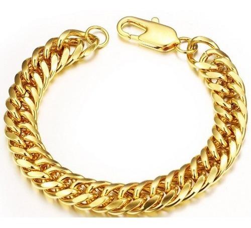 pulseira masculina 12mm banho de ouro 18k + garantia + sedex