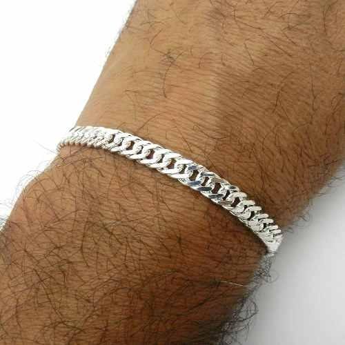 pulseira masculina 18cm 5mm largura folheada prata pl123