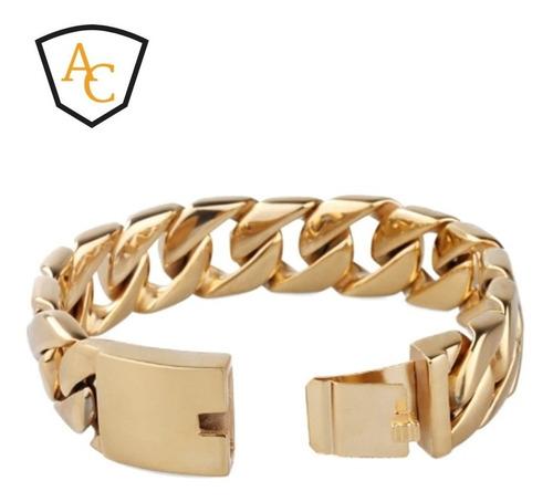 pulseira masculina 18mm grossa banhada ouro 18k modelo top