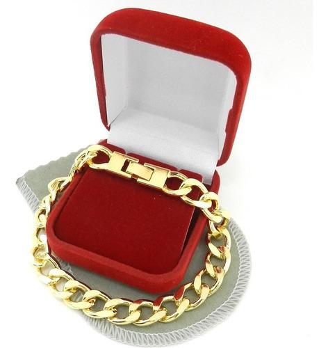 pulseira masculina 19cm 1cm largura folheada ouro pl213