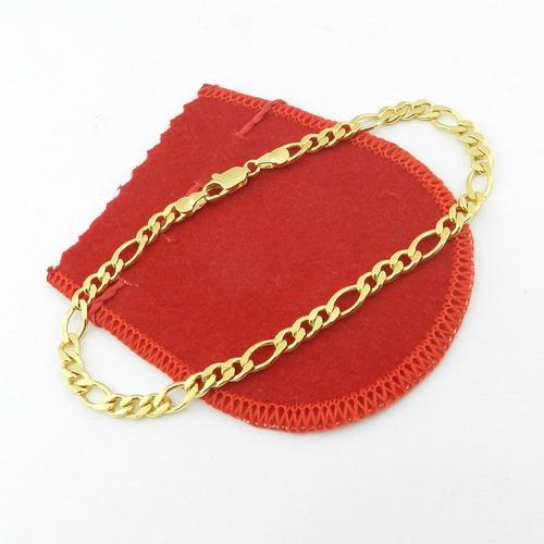 pulseira masculina 19cm 5mm largura folheada ouro pl160