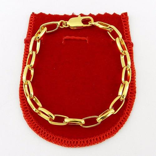 pulseira masculina 19cm 5mm largura folheada ouro pl300