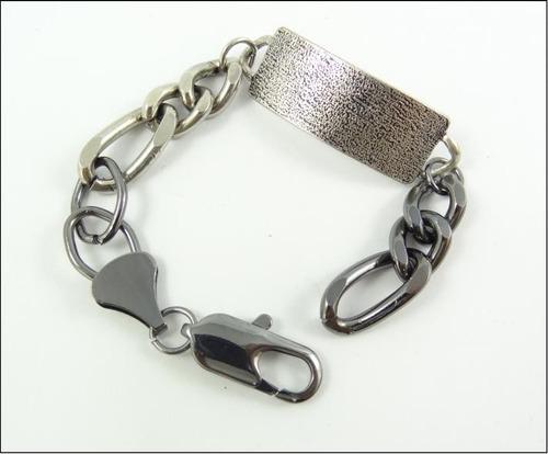 pulseira masculina 19cm aço inox bi color prata preta j1616