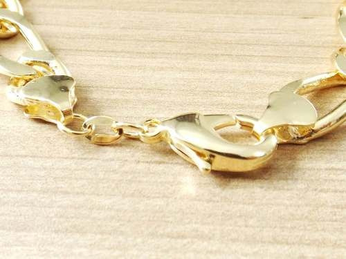 pulseira masculina (1x1) 21cm 10mm banhada ouro