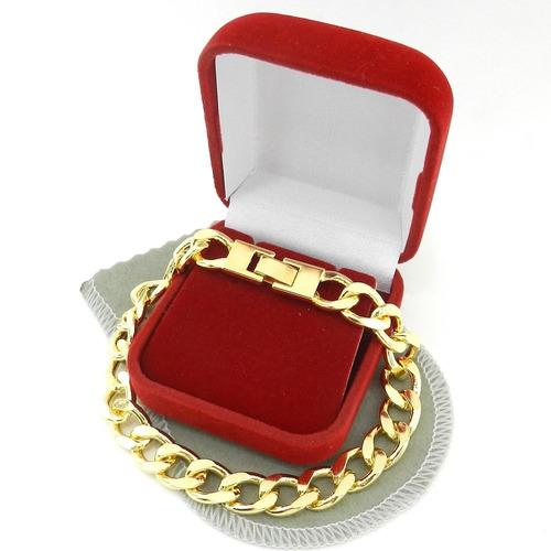 pulseira masculina 20cm 1cm largura folheada ouro pl197