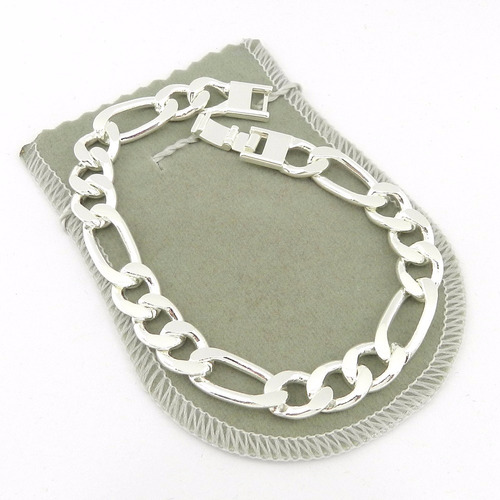 pulseira masculina 20cm 1cm largura folheada prata pl115
