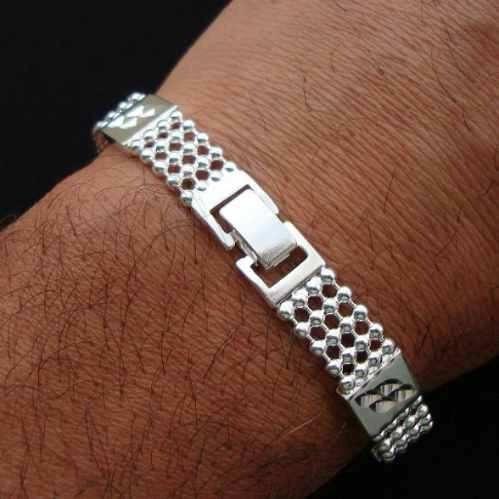 pulseira masculina 20cm 1cm largura folheada prata pl268