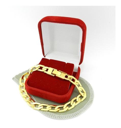 pulseira masculina 20cm 8mm largura folheada ouro pl258
