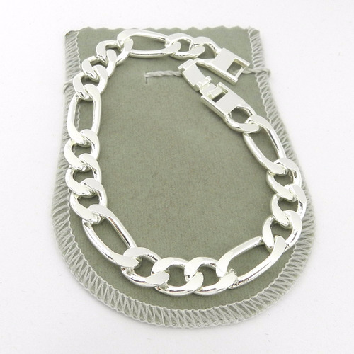 pulseira masculina 21cm 1cm largura folheada prata pl135