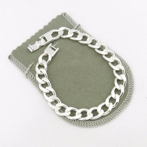 pulseira masculina 21cm 1cm largura folheada prata pl248