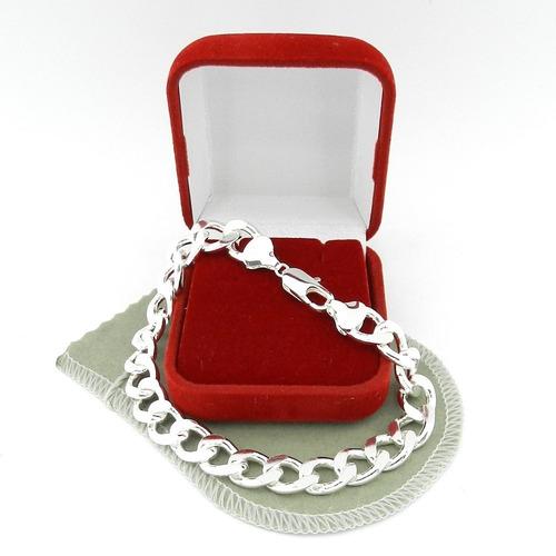 pulseira masculina 22cm 1cm largura folheada prata pl153