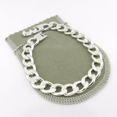 pulseira masculina 22cm 1cm largura folheada prata pl156
