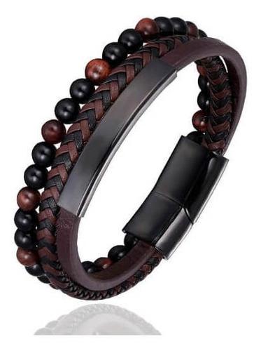 pulseira masculina 3 em 1 de couro e pedra tons vinho