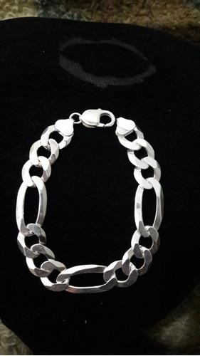 pulseira masculina 3x1 10mm grossa em prata italiana 925