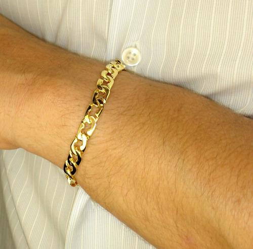 pulseira masculina 4mm banhada a ouro 18k