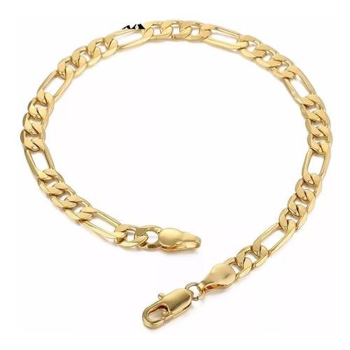 pulseira masculina 5mm banhada ouro 18k modelo 3x1