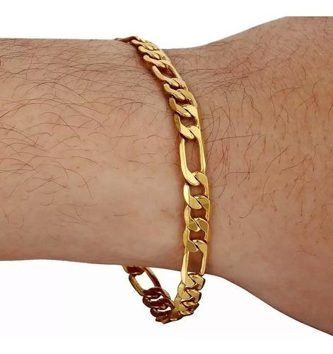 pulseira masculina 5mm banhada ouro 18k modelo 3x1 ref: p3