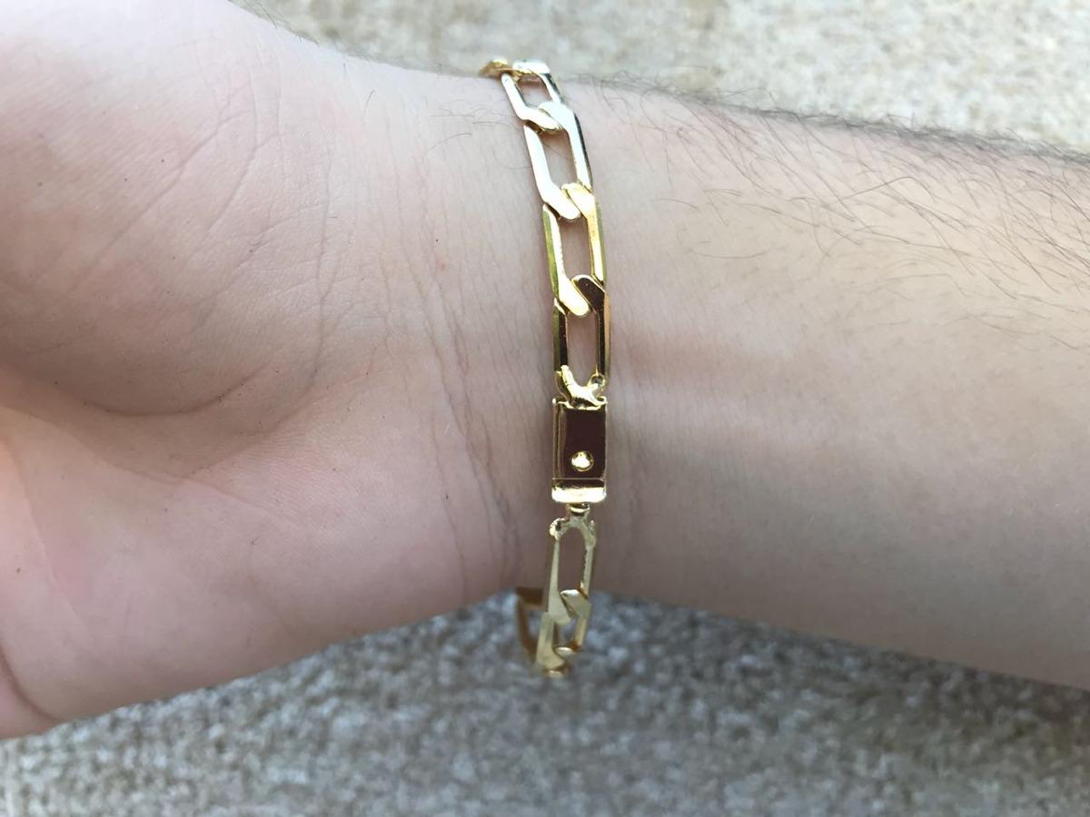 486145791aab7 pulseira masculina 6mm folheada a ouro 18k fecho gaveta. Carregando zoom.