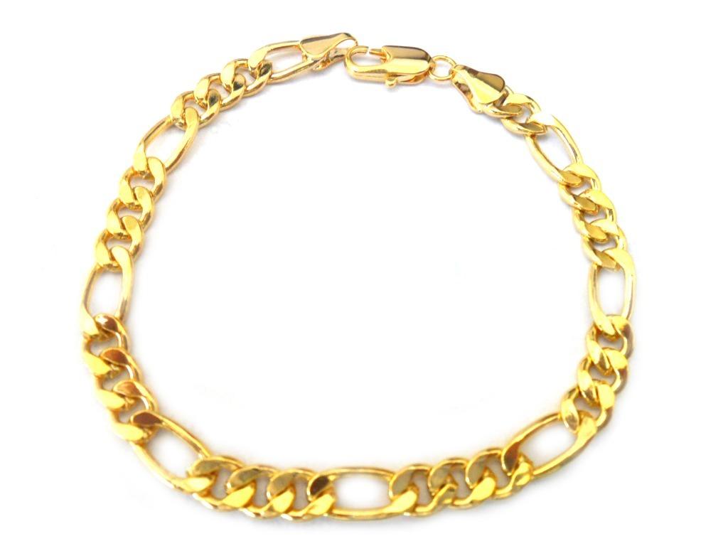 f415db30ba93a pulseira masculina 6mm largura elo 3 por 1 folheada ouro 18k. Carregando  zoom.