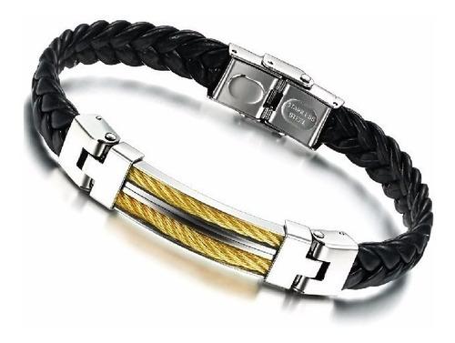 pulseira masculina aço couro trançado bracelete banhada